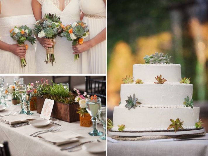 Eco-friendly succulent plants incorporated in bridal bouquet and reception table centerpieces