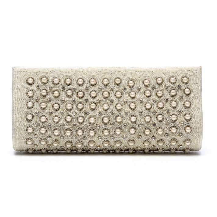 Beaded bridal clutch with pearls and crystal embellishments