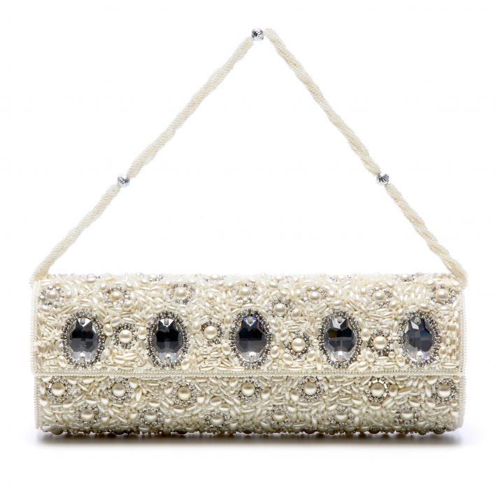 Bejeweled bridal clutch with pearl details by Tejani