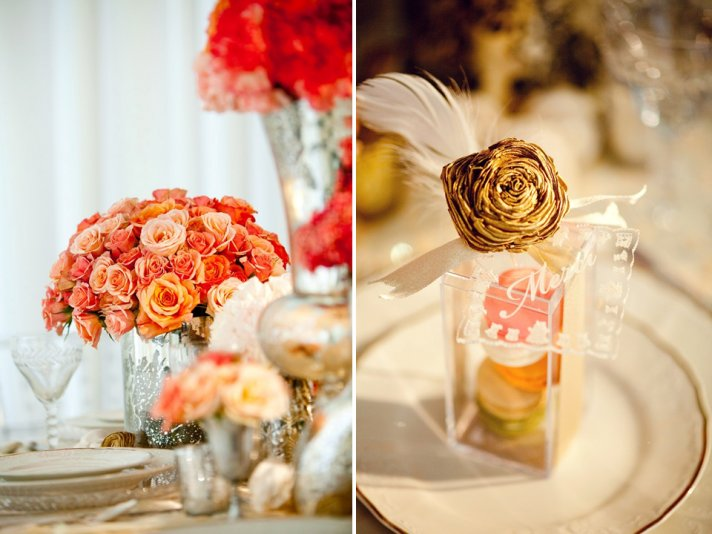 BHLDN-inspired wedding reception decor with orange, peach and ivory wedding flowers