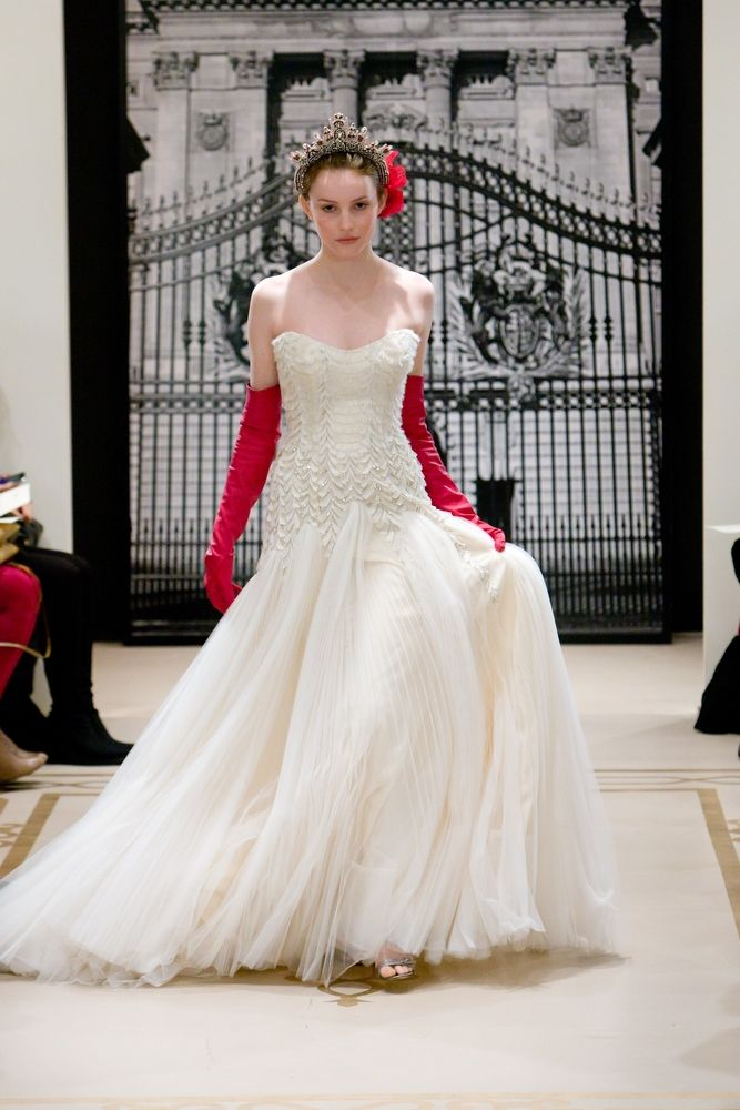 Drop-waist deep ivory tulle mermaid wedding dress by Reem Acra