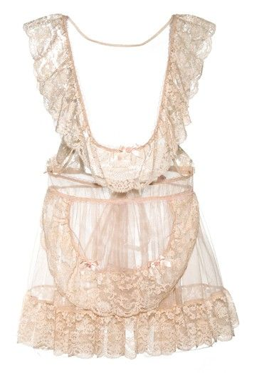Ruffly sheer blush pink bridal lingerie