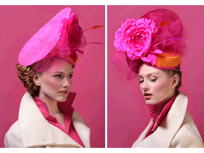 Chic hot pink statement making wedding guest hat