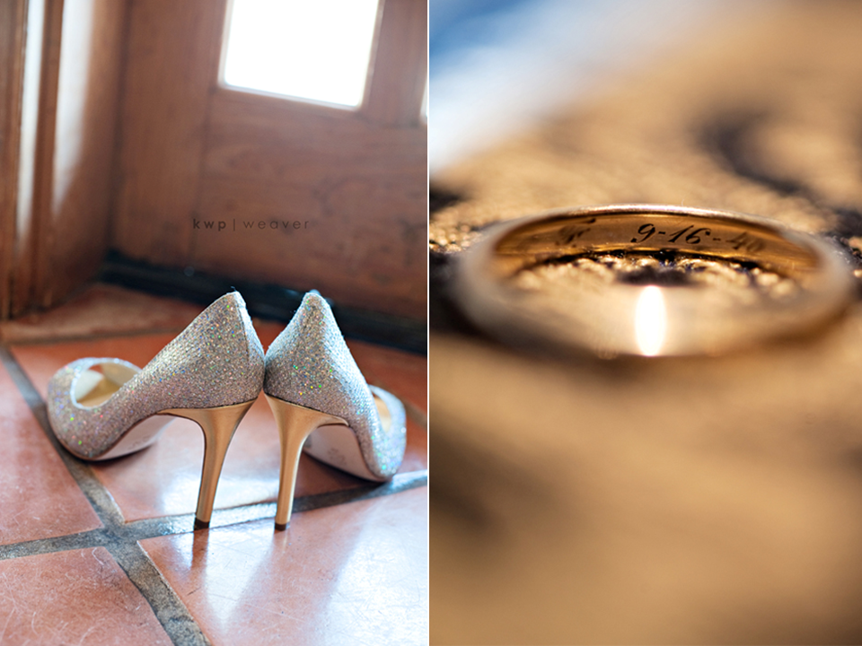 Sparkly bridal heels next to engraved wedding bands