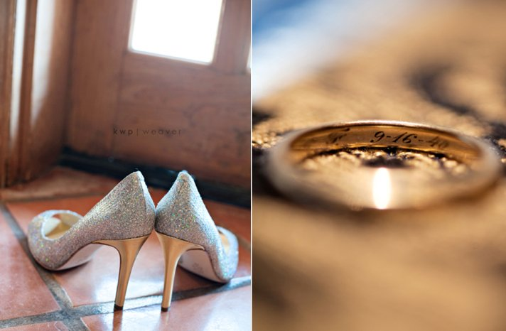 stylish-wedding-shoes-metallic-bridal-heels-engraved-wedding-bands