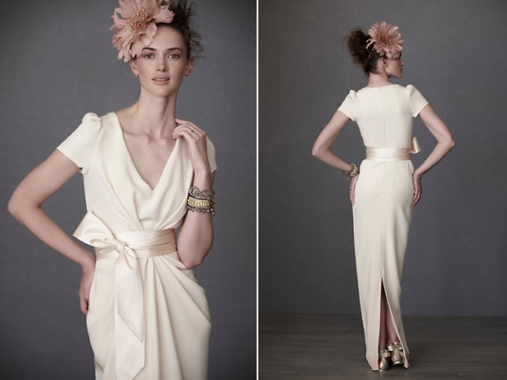 Vintage-inspired ivory v-neck bridal gown by BHLDN