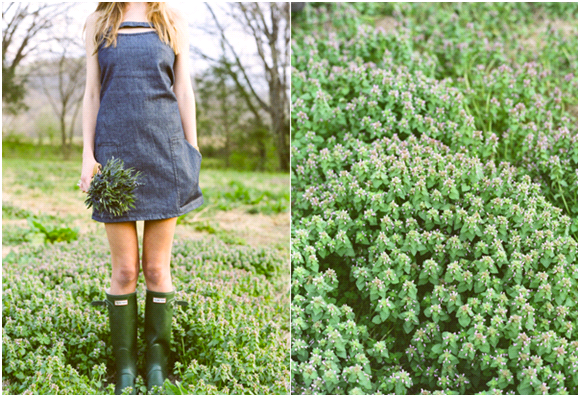 Casual bridesmaid wears denim dress, boots, while holding simple bouquet