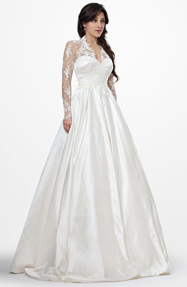 Chic Manuel Mota classic a-line wedding dresses like Kate Middleton's royal wedding gown