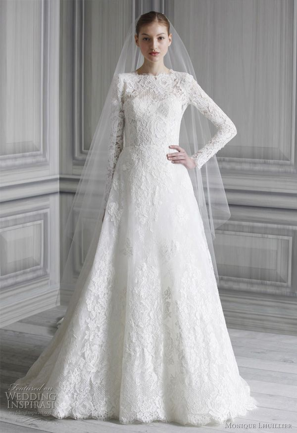 Monique Lhuillier a-line lace wedding dress with long sleeves