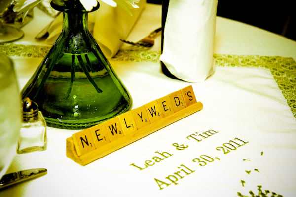 Personalized wedding reception details- Scrabble tiles for table numbers and embroidered wedding nap
