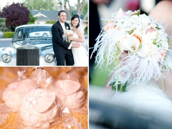 Vintage wedding transportation, personalized wedding guest favors, feathered flower bridal bouquet