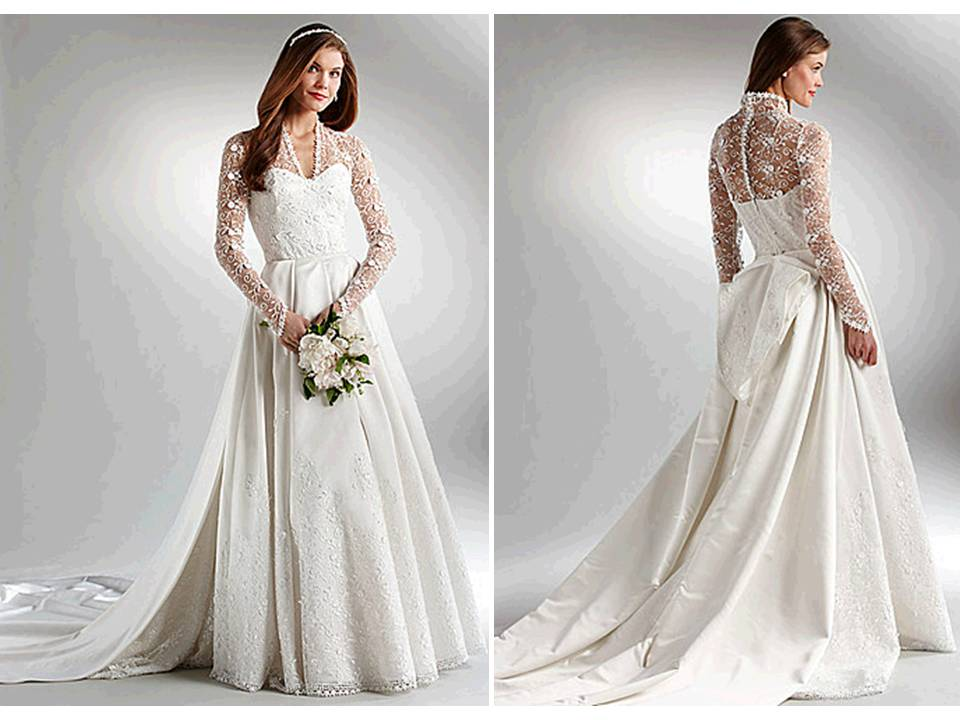 Ivory ball gown wedding dress with long lace sleeves inspired by Kate