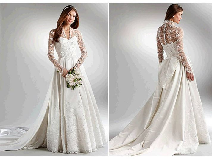 Ivory ball gown wedding dress with long, lace sleeves inspired by Kate Middleton's Sarah Burton for