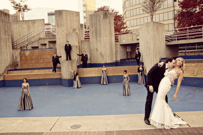 Baltimore bride and groom pose with bridal party outside of wedding venue
