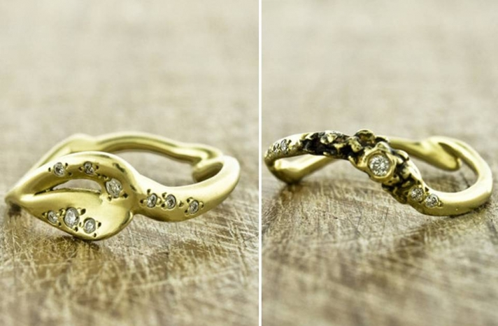 organic-engagement-ring-wedding-bands-recycled-gold-diamonds