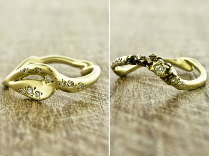 Recycled yellow gold handcrafted into unique, eco-friendly wedding bands and engagement ring