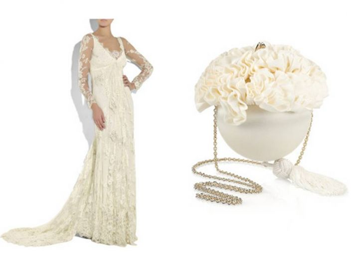 Romantic ivory long sleeved lace wedding dress and floral-inspired ivory bridal clutch