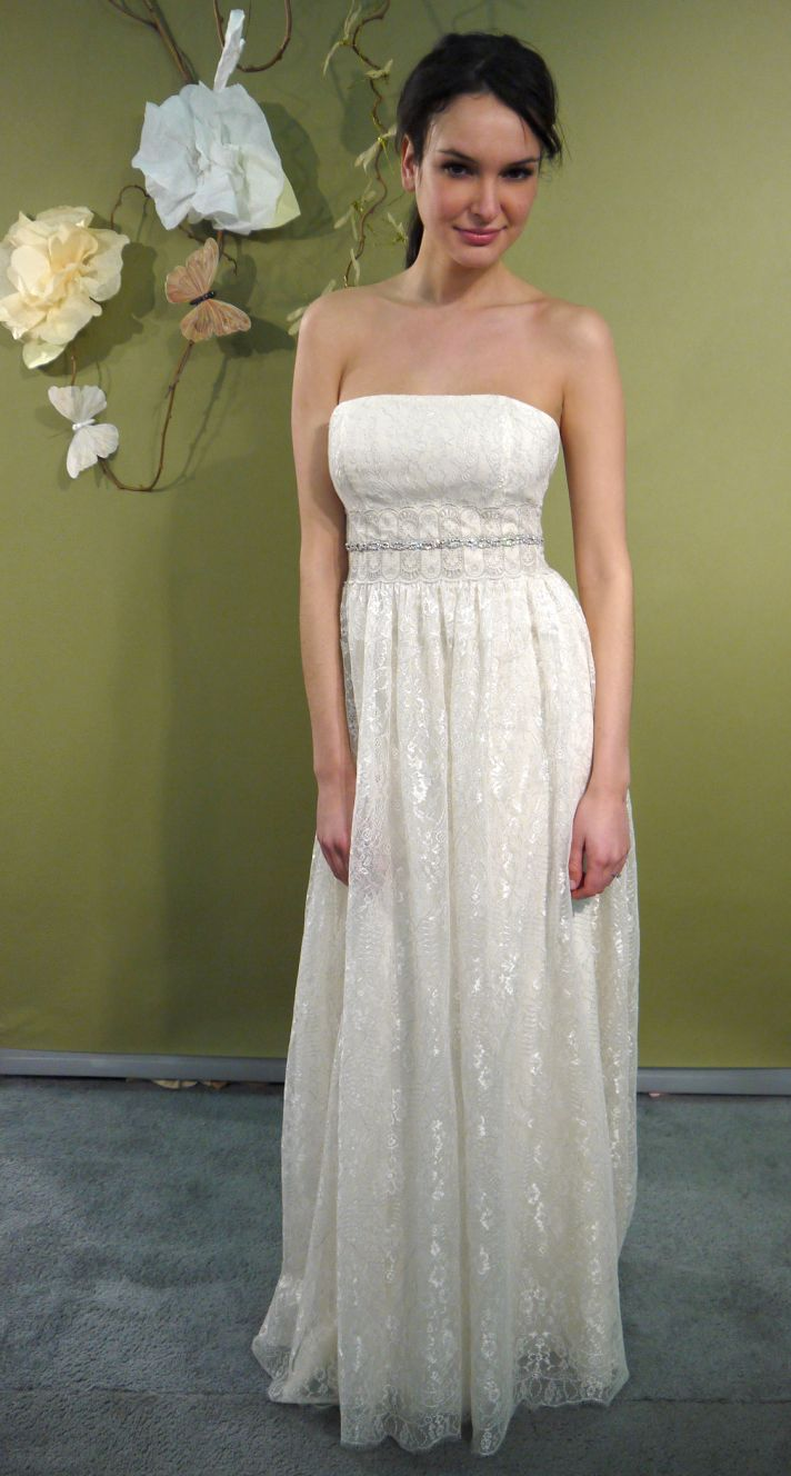 Ivory strapless column wedding dress with beaded bridal sash by Claire Pettibone, Fall 2011