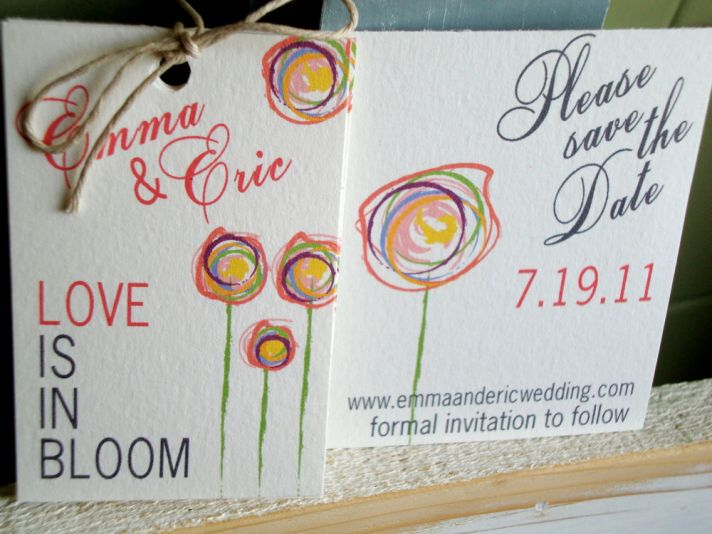 Romantic and eco-friendly modern initial wedding invitation set on Etsy