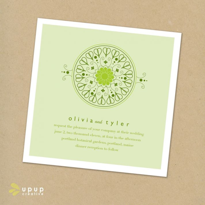 Eco-friendly square wedding invitation set with green and white wedding color palette
