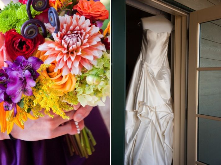Vibrant Fall bridal bouquet and classic ivory wedding dress