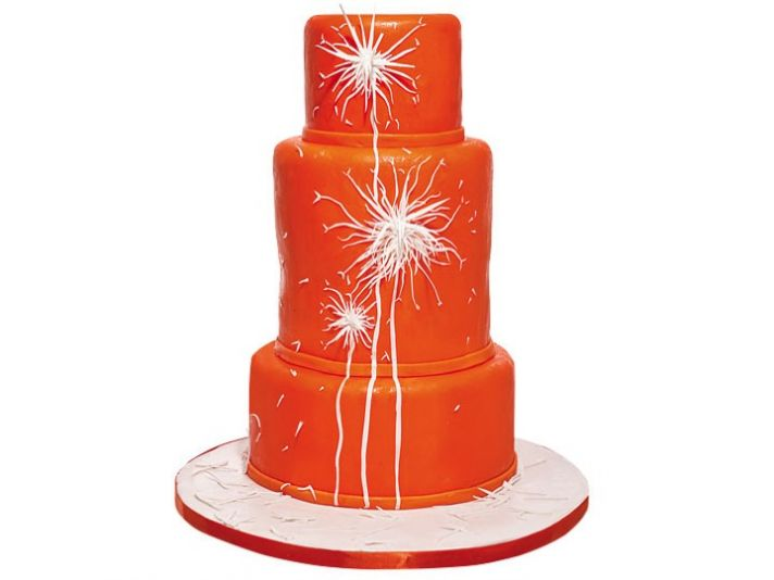 Vibrant orange 3-tier wedding cake with white dandelion kiss design