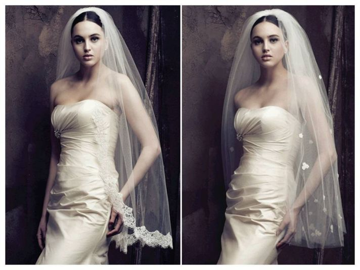 Lace embellished and floral appliqued romantic bridal veils