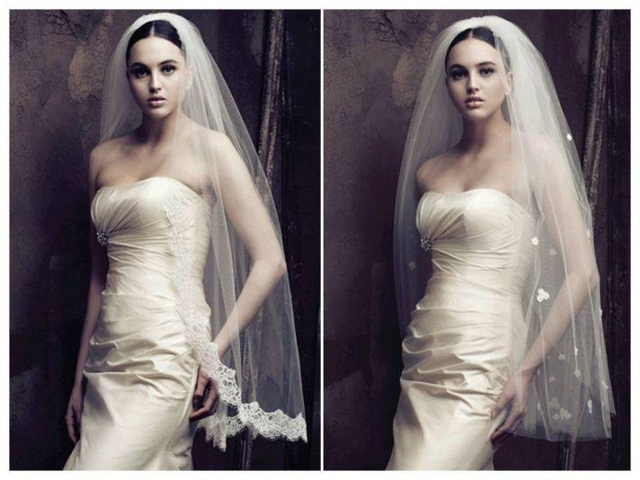 Lace embellished and floral appliqued romantic bridal veils