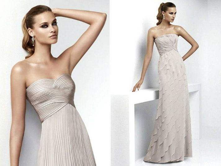 Sophisticated champagne bridal gowns and bridesmaids dresses by Pronovias