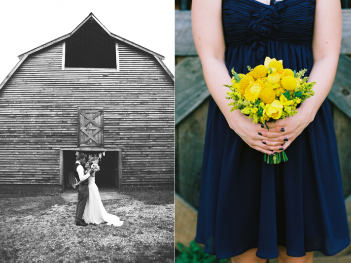 yellow navy blue and gray wedding idea