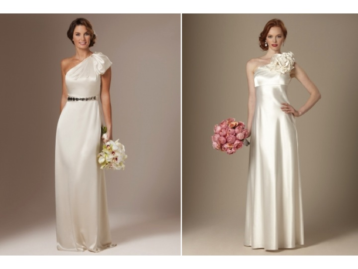 silk oneshoulder column bridal gown and modified aline wedding dress