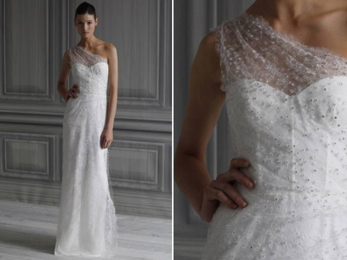 Spring 2012 Lina wedding dress with illusion neckline by Monique Lhuillier