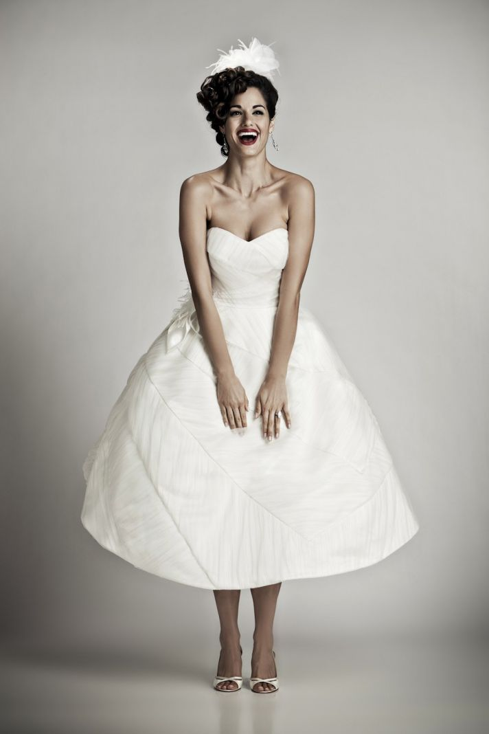 Ivory tea-length vintage inspired bridal gown with sweetheart neckline
