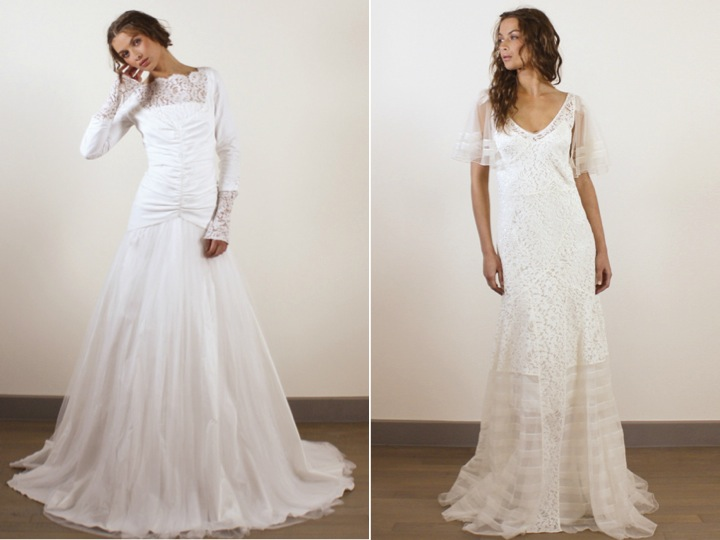 Long sleeves romantic wedding dresses with sultry open back