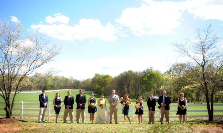 Outdoor wedding photos in South Carolina- navy and lemon wedding color palette