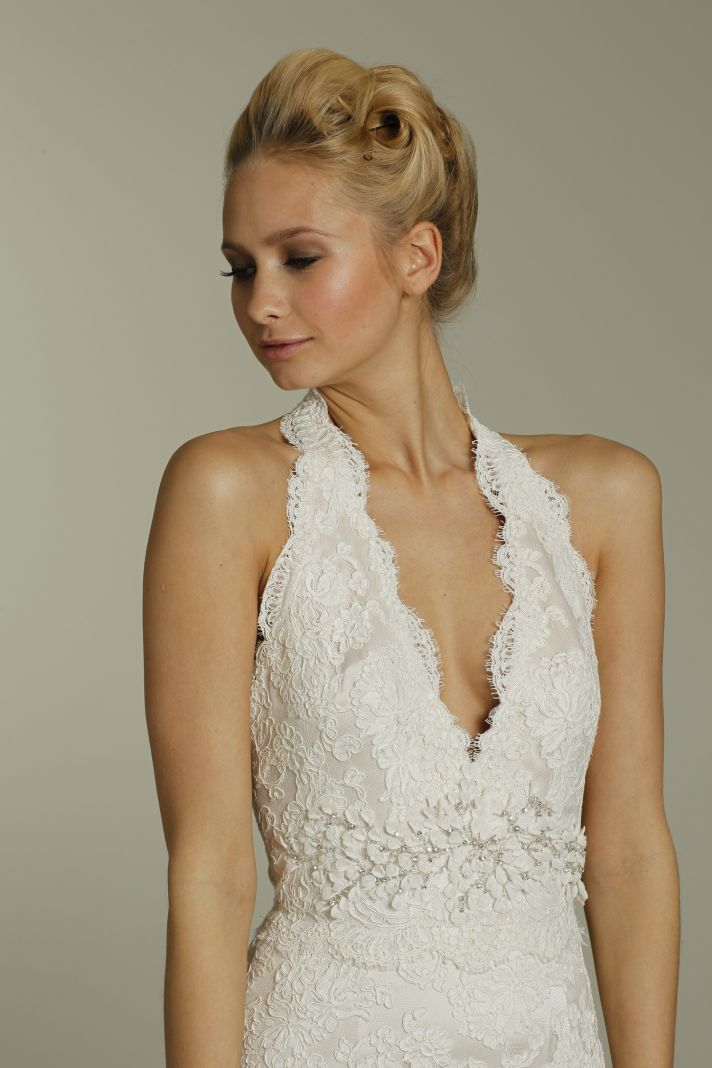Romantic lace halter deep v neck wedding dress with embellished sash