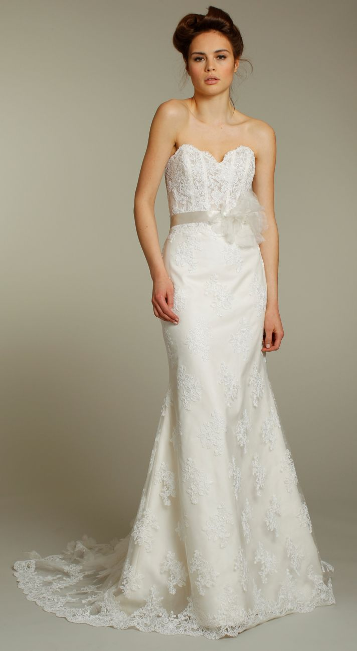 Romantic lace column wedding dress with spaghetti straps and embellishing under bust