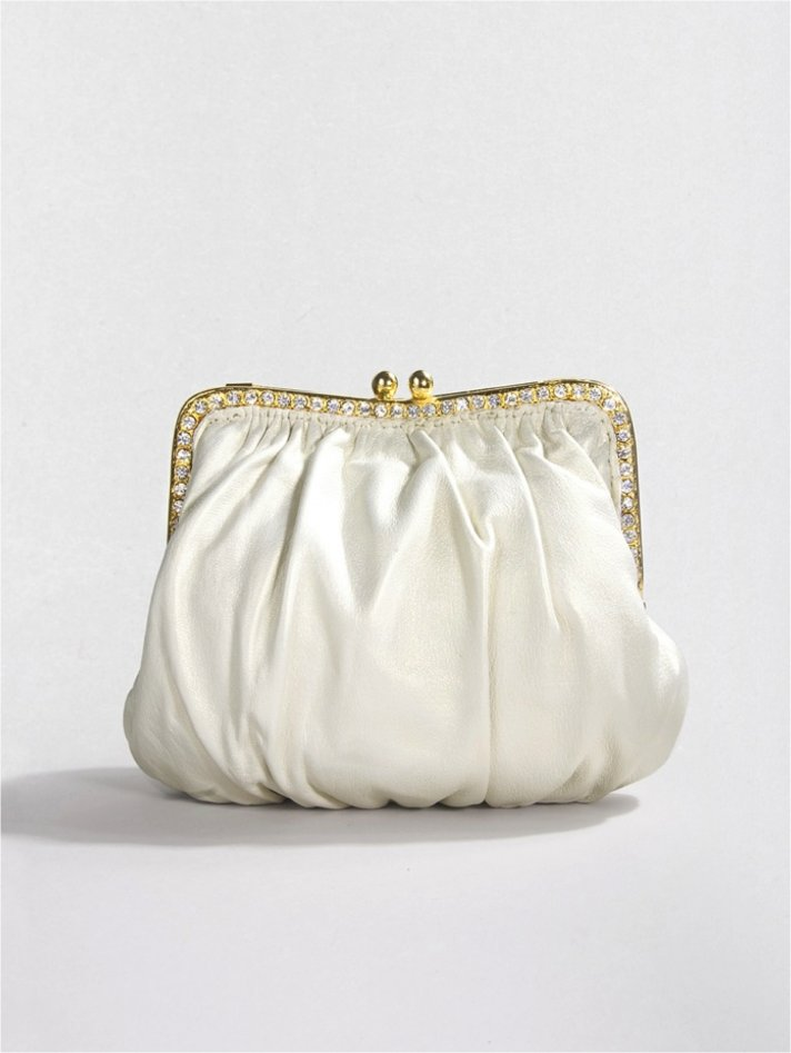 Luxurious lambskin bridal clutch with swarovski crystal embellishments
