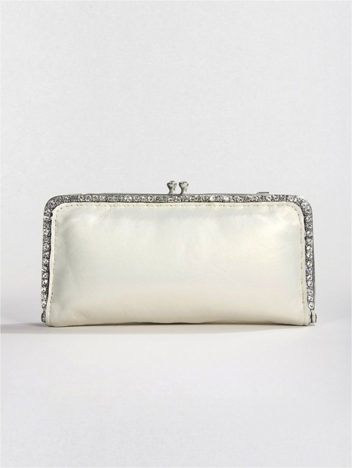 Ivory lambskin bridal clutch with pearl sheen and Swarovski crystals