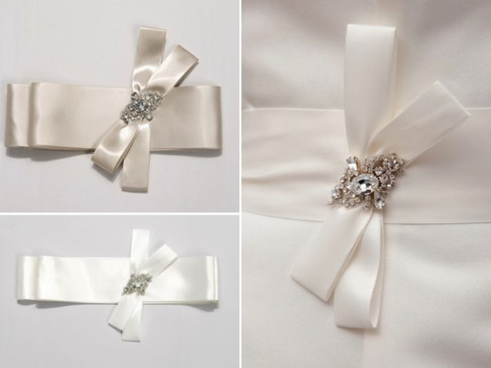 Romantic satin ribbon bridal sashes with rhinestone embellishments