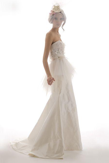 Romantic ivory strapless wedding dress with tulle peplum