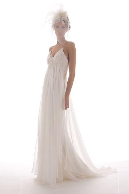 Romantic white sheath wedding dress for beach wedding by Elizabeth Fillmore