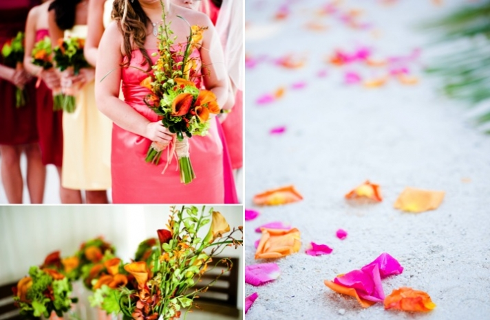 tropical-wedding-flowers-real-wedding-photography-mix-and-match-bridesmaid-dresses