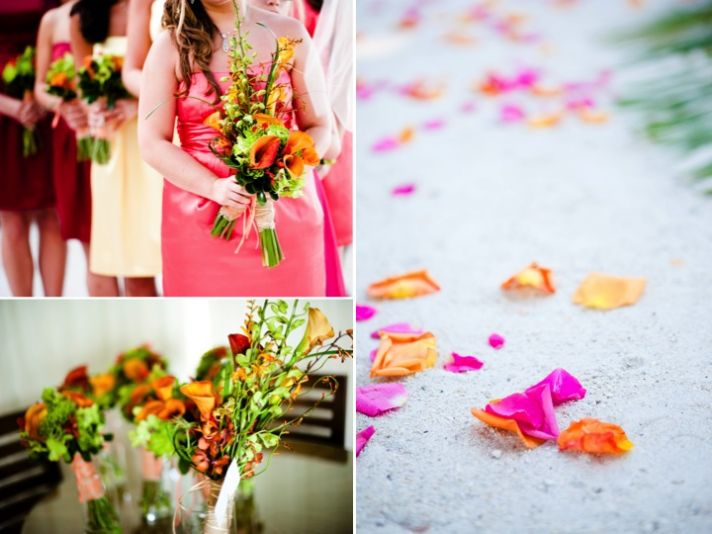 Bright mix and match bridesmaids dresses with tropical bouquets