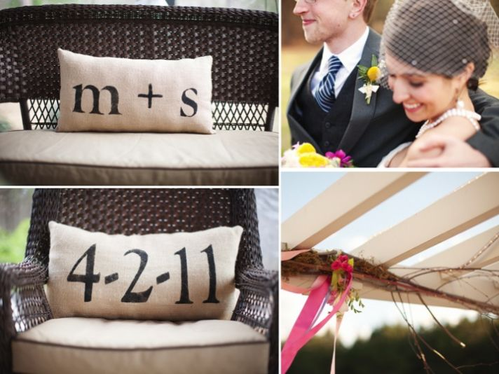 Monogrammed pillows add personal touch to wedding reception