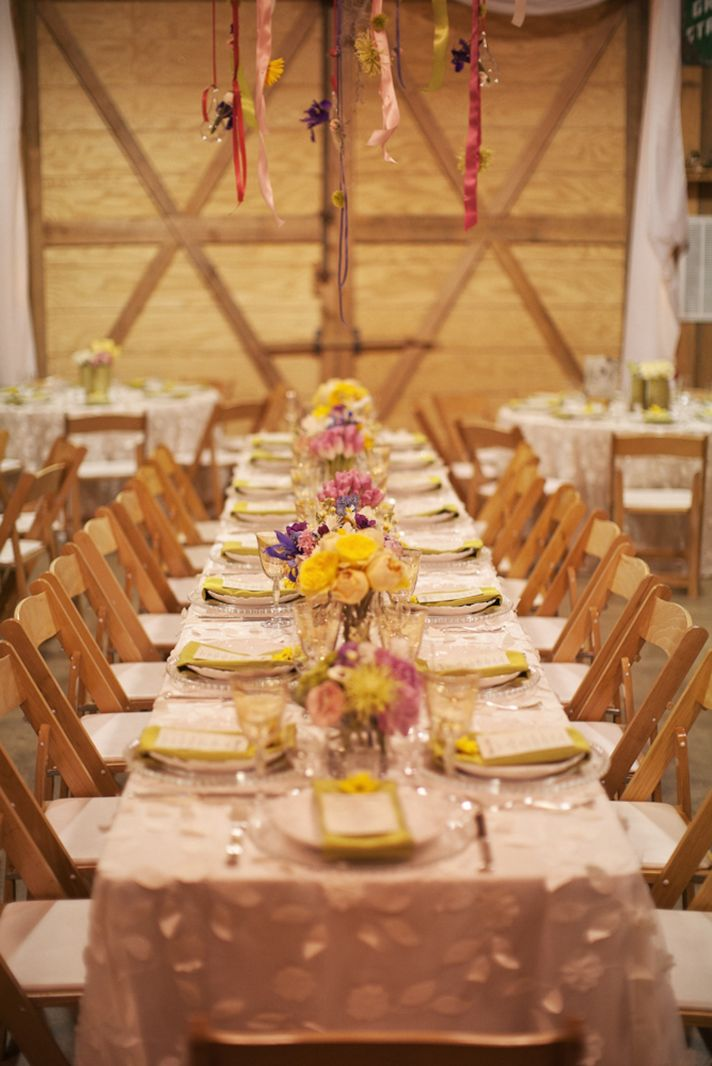 Country chic wedding reception venue tablescape