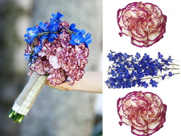 Vintage-inspired summer wedding bridal bouquet with carnations and delphiniums