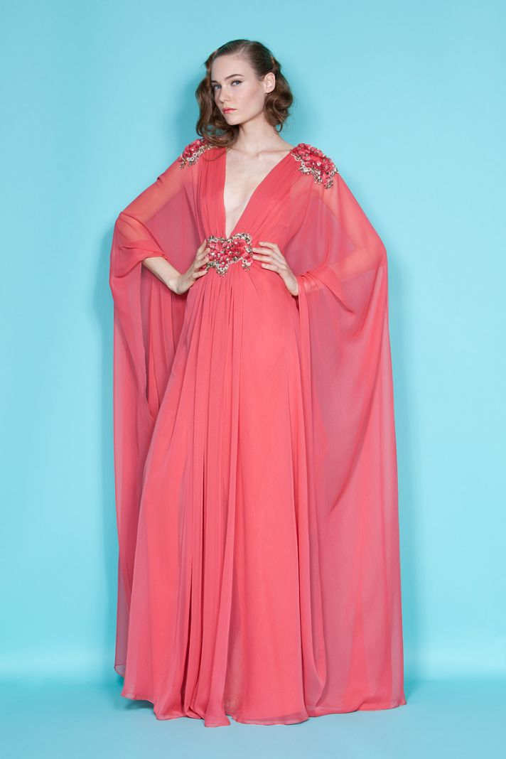For your destination wedding, put bridesmaids in coral caftans like this one by Marchesa