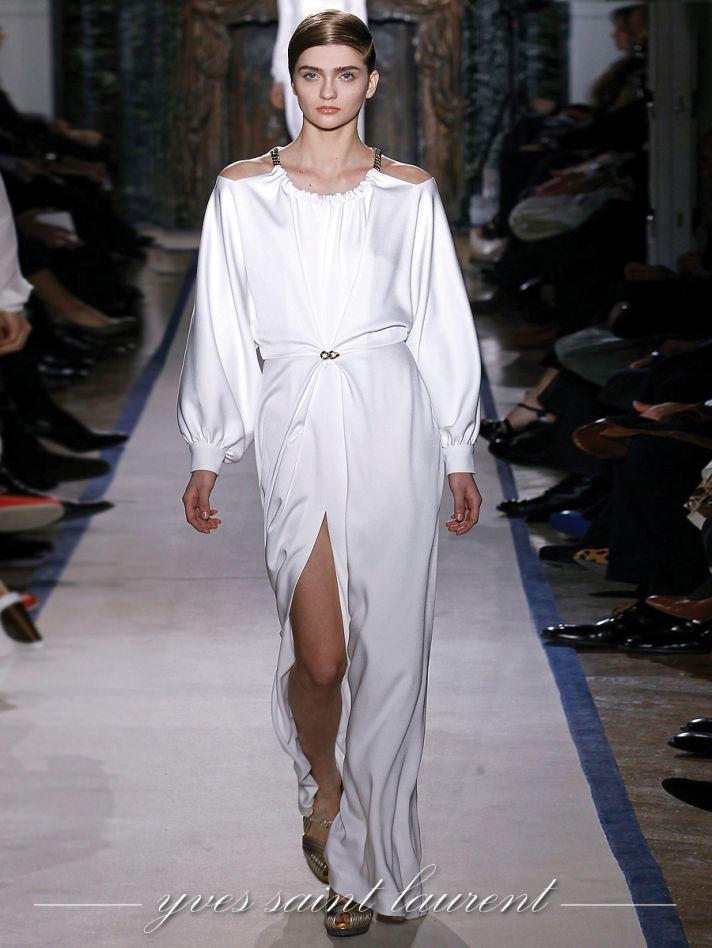 White YSL beach wedding dress with sleeves