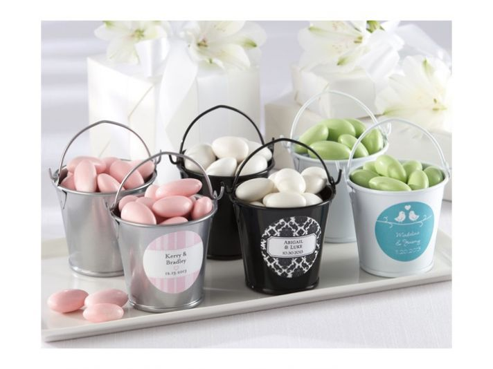 Sweet personalized wedding guest favor pails
